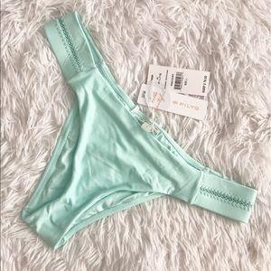 NWT ✨ Pilyq Aqua Stitched Tab Teeny Bikini Bottom